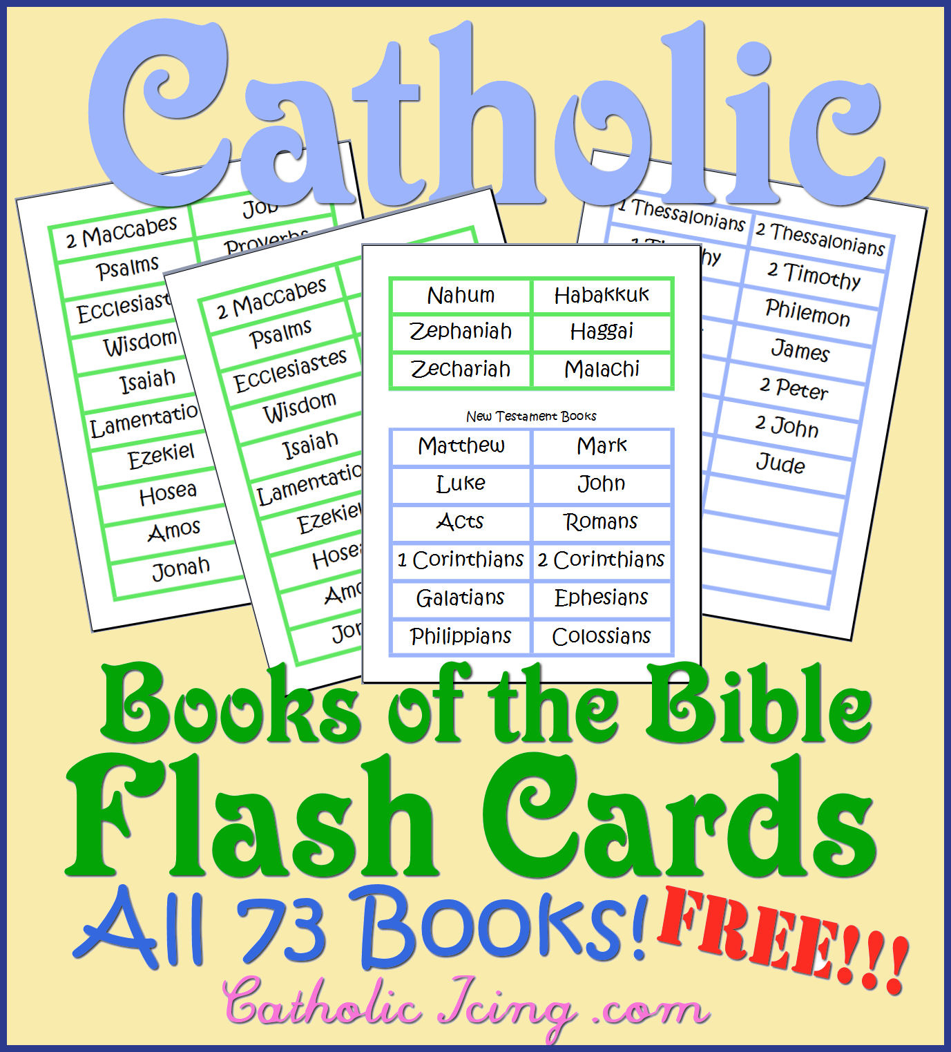 Catholic Books Of The Bible Resources For Kids- Song, Free - Books Of The Bible Bookmark Printable Free