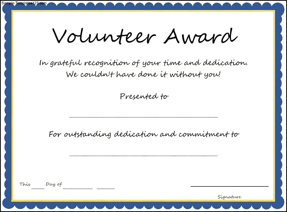 Certificate And Award Templates Simple Volunteer Award Template - Free Printable Volunteer Certificates Of Appreciation