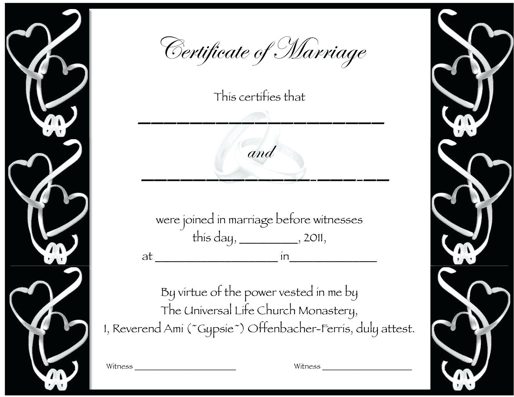 Certificate Fake Marriage Printable Filename | Elsik Blue Cetane - Fake Marriage Certificate Printable Free