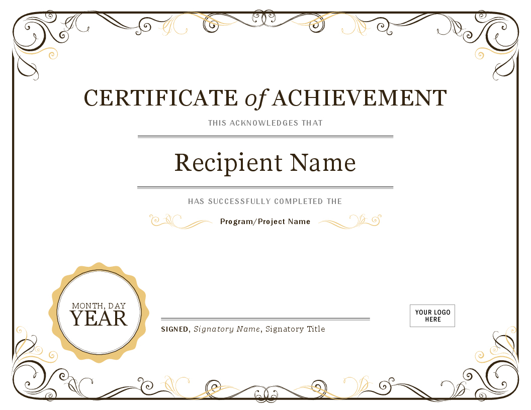 Certificates - Office - Free Customizable Printable Certificates Of Achievement