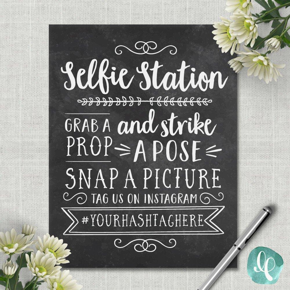 Chalkboard Selfie Station Sign / Wedding Photo Booth Sign | Etsy - Selfie Station Free Printable