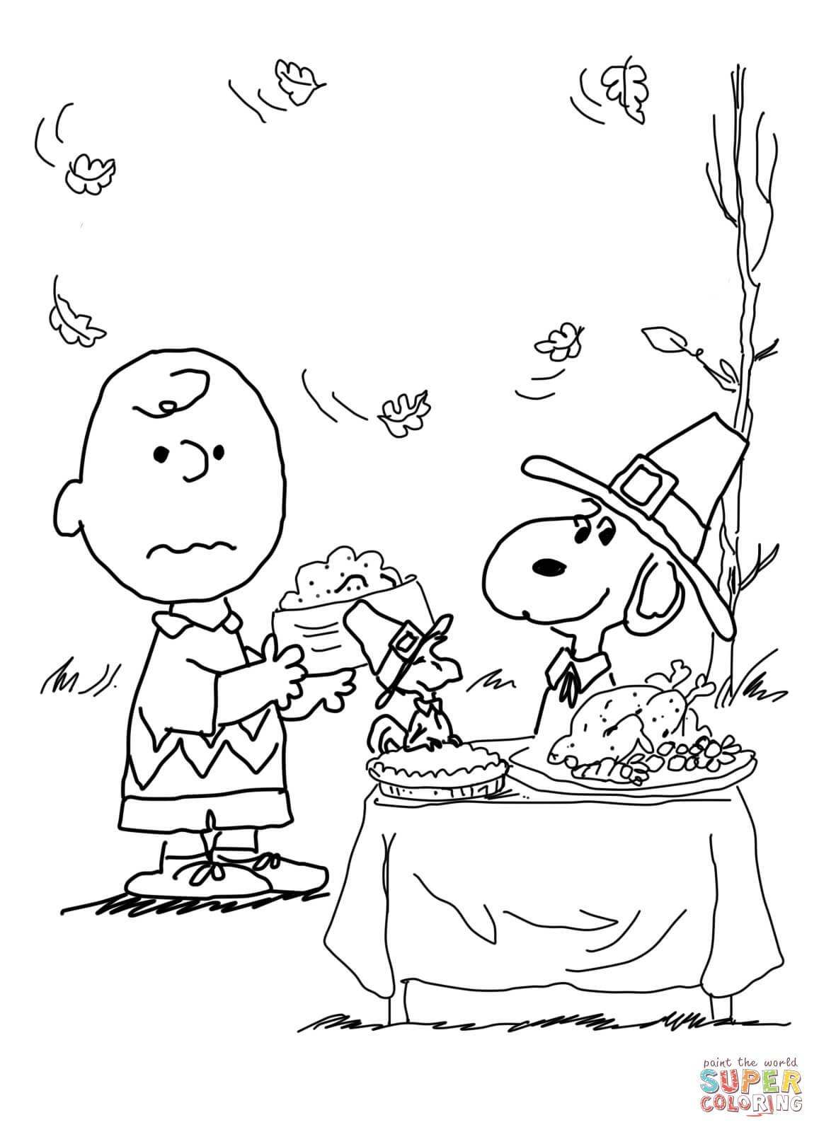 Charlie Brown Thanksgiving Coloring Page | Free Printable Coloring Pages - Free Printable Charlie Brown Halloween Coloring Pages