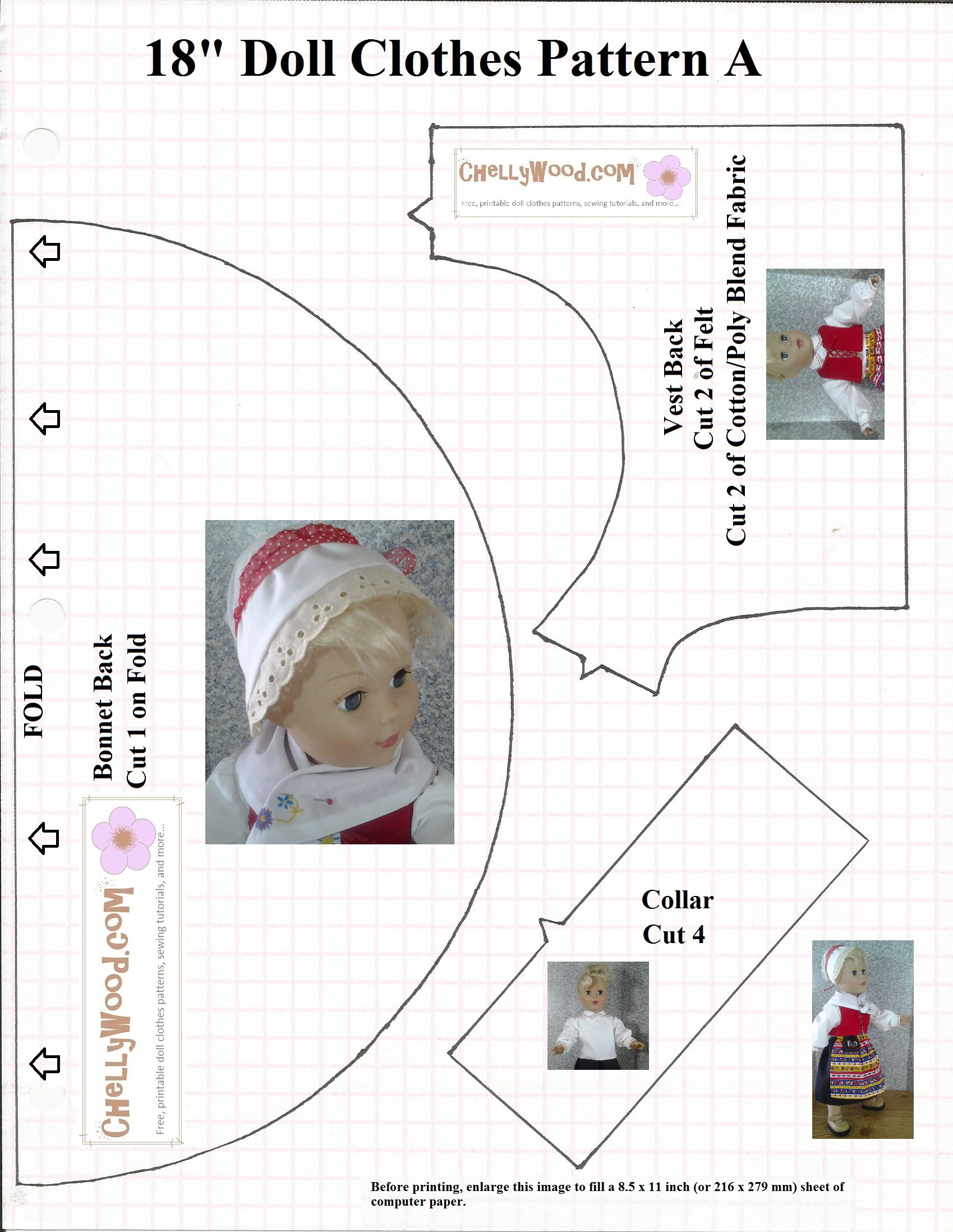 Chellywood Offers Free Printable Doll Clothes Patterns Of - Free Printable Doll Clothes Patterns For 18 Inch Dolls