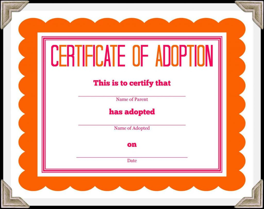Child Adoption Certificate Template | Fiddler On Tour - Free Printable Adoption Certificate