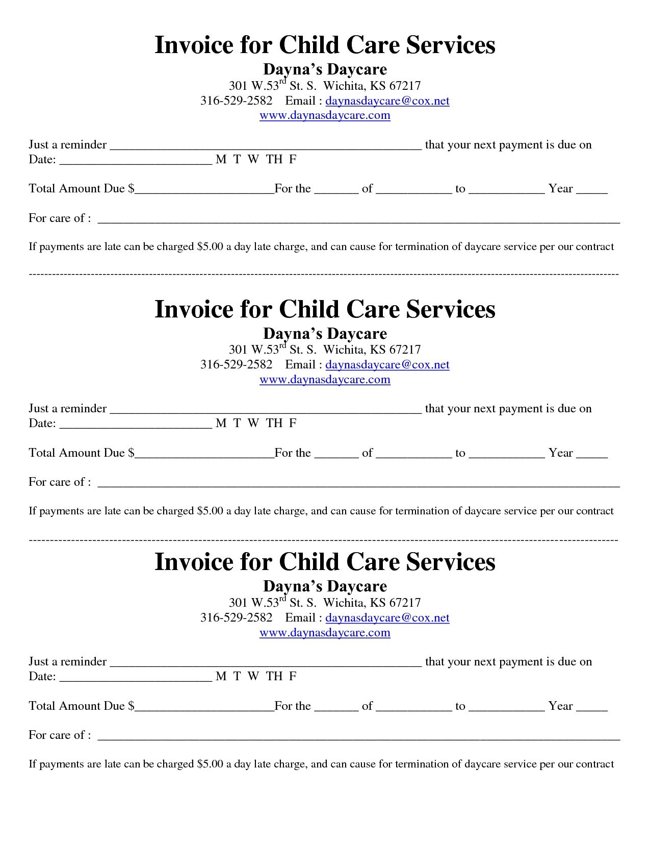 Child Care Receipt/invoice | Jordi Preschool - Free Printable Daycare Receipts