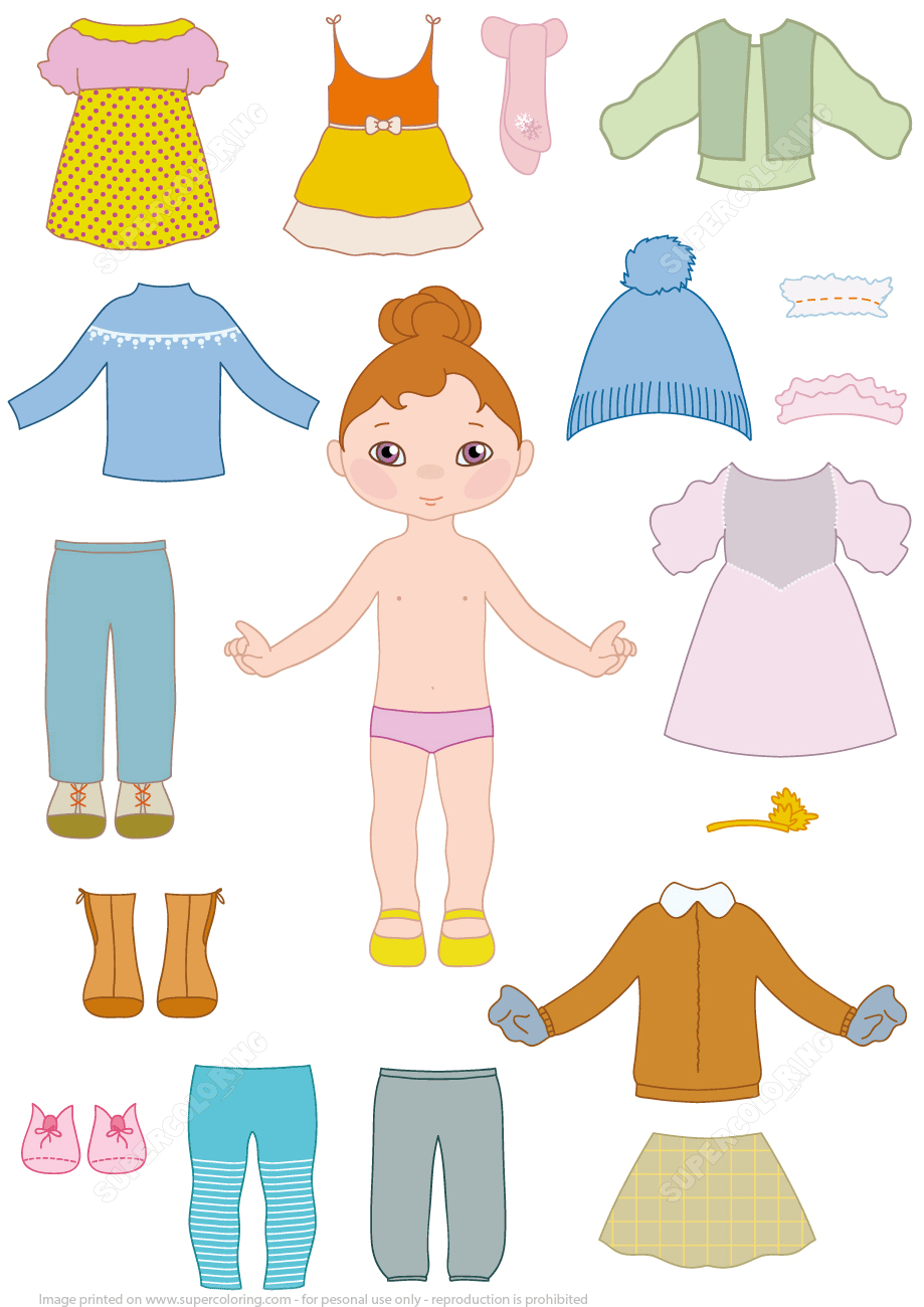 Child Girl Paper Doll With Clothes From Dress Up Paper Dolls - Free Printable Paper Dolls