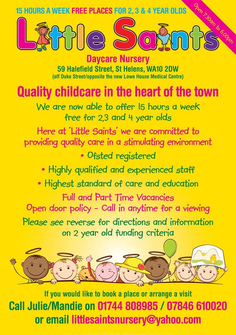 Childcare Leaflet Design For Little Saints Daycare Nurserywww - Free Printable Home Daycare Flyers