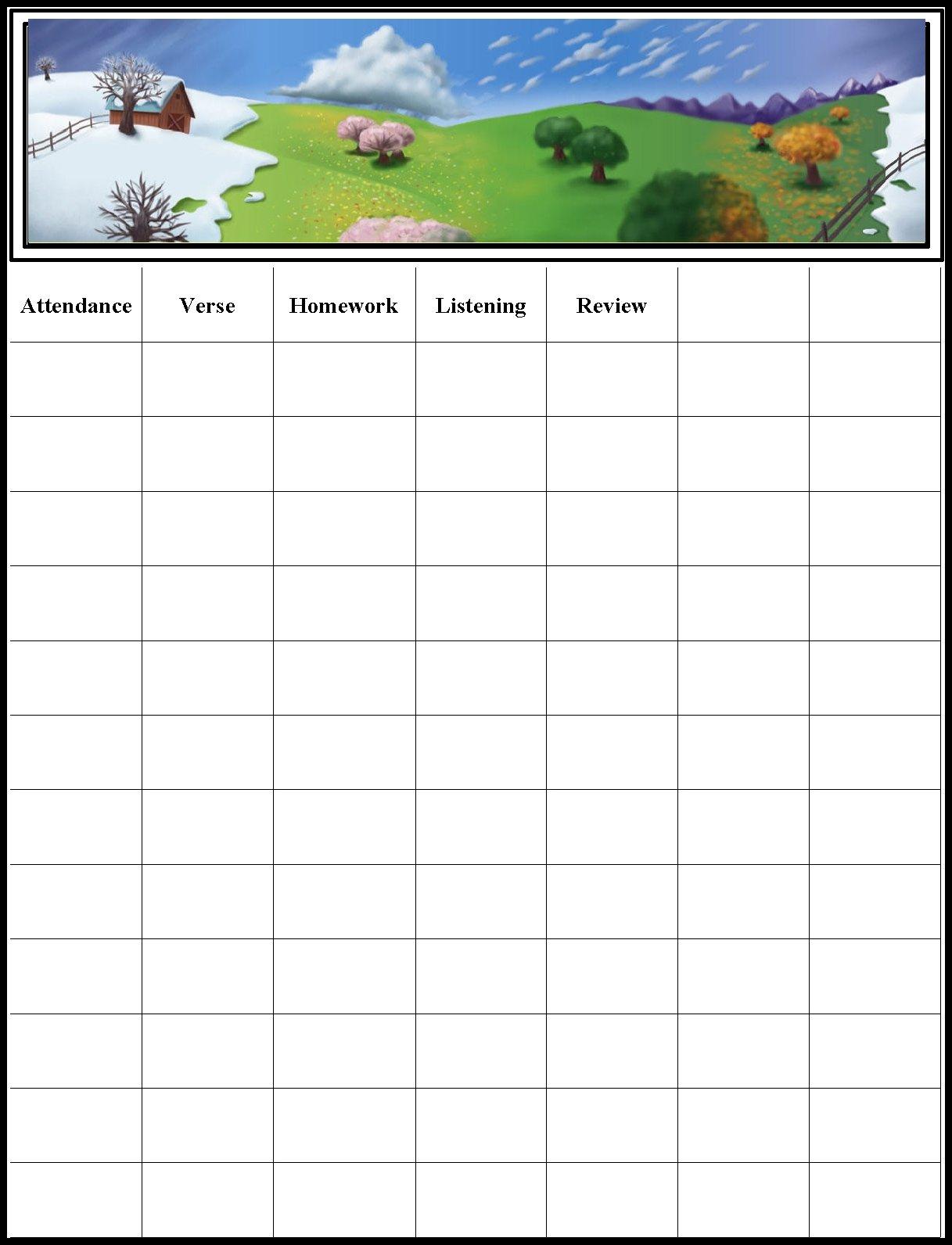 Children's Gems In My Treasure Box: Sunday School - Attendance Chart - Sunday School Attendance Chart Free Printable