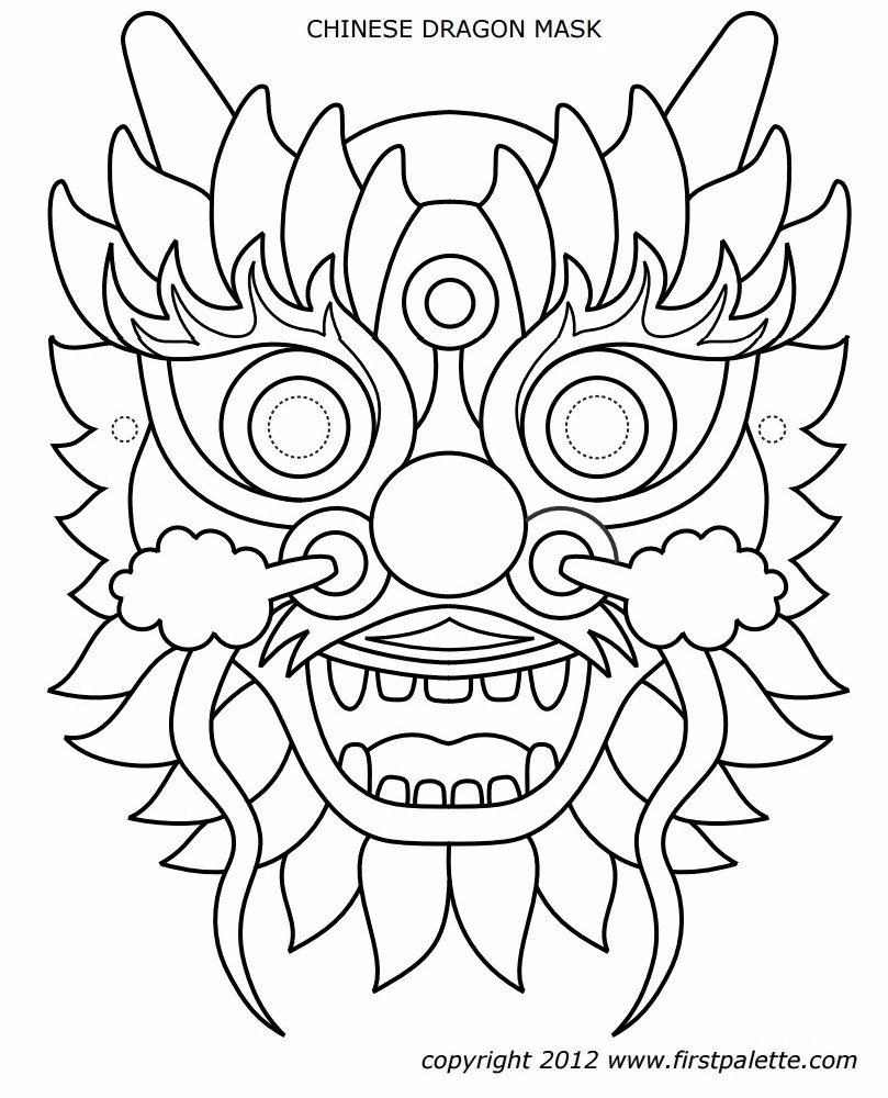 Chinese Dragon Mask Coloring Page - Dragon Mask Printable Free