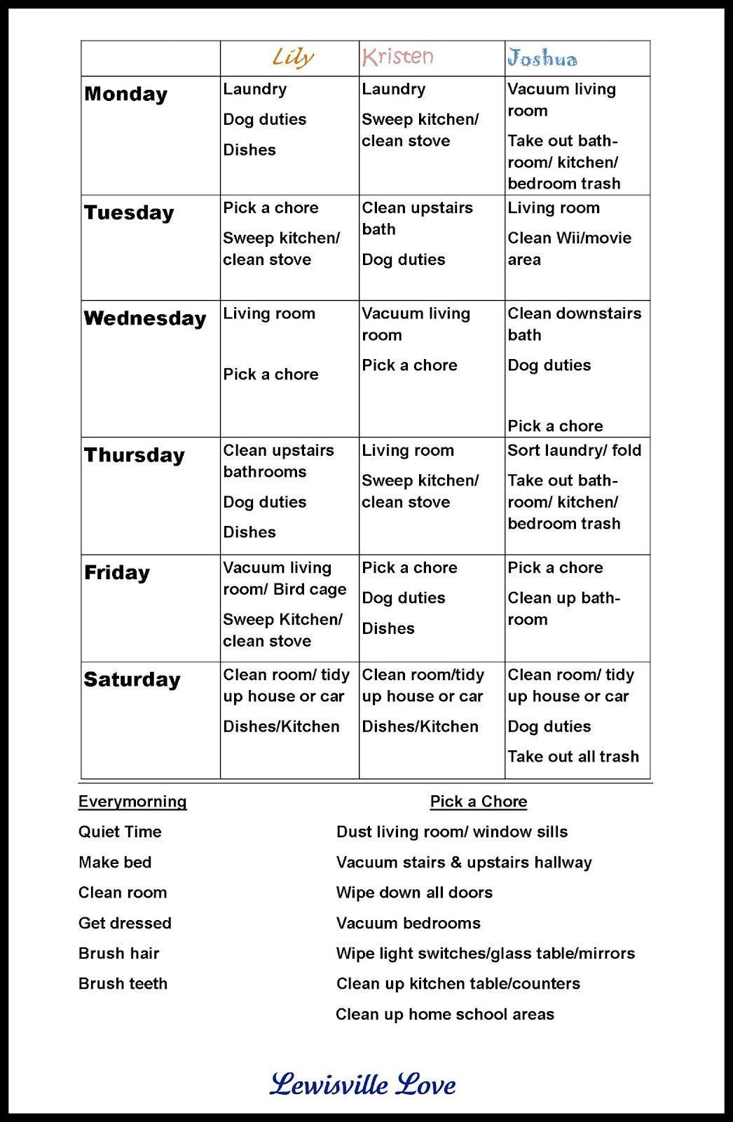 """Chore Charts For Teens  The Way, They Love The """"pick A Chore - Free Printable Chore List For Teenager"""