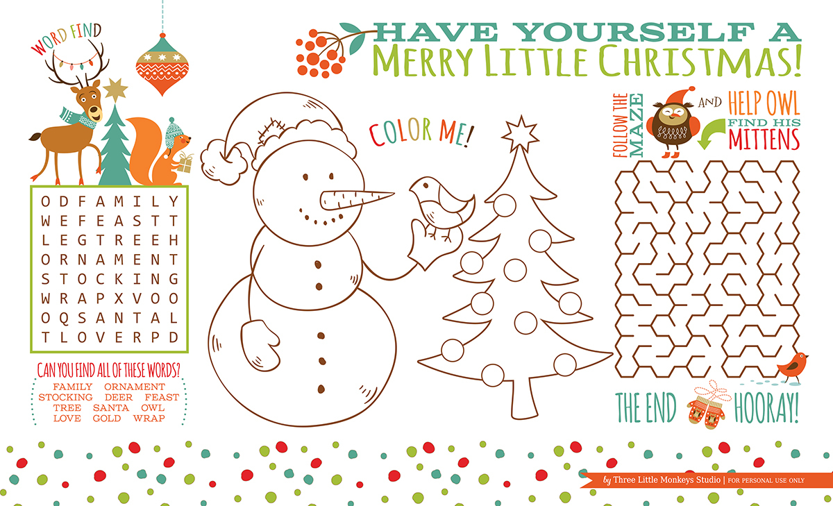 Christmas Activity Placemat (Free Printable} - Three Little Monkeys - Free Printable Christmas Activities