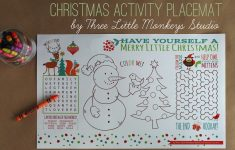 Christmas Activity Placemat (Free Printable} – Three Little Monkeys – Free Printable Christmas Placemats For Adults