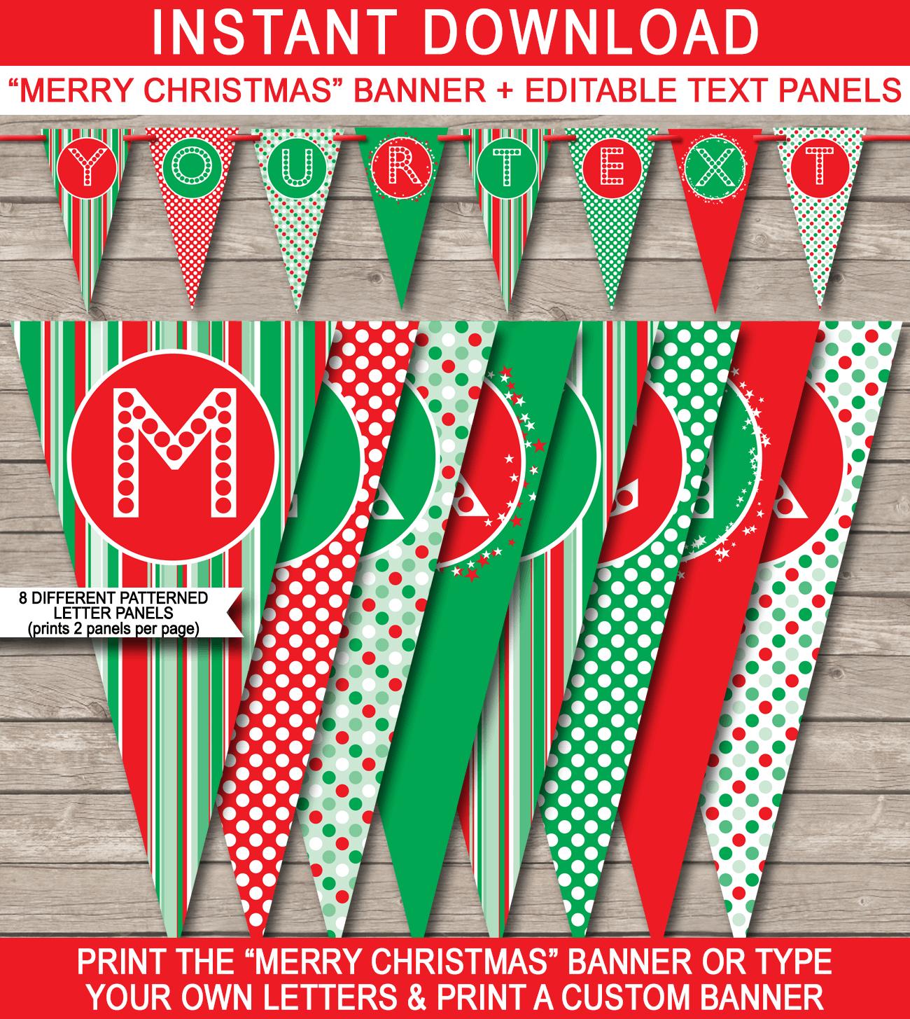Christmas Banner Template | Merry Christmas Banner | Editable Bunting - Free Printable Christmas Banner