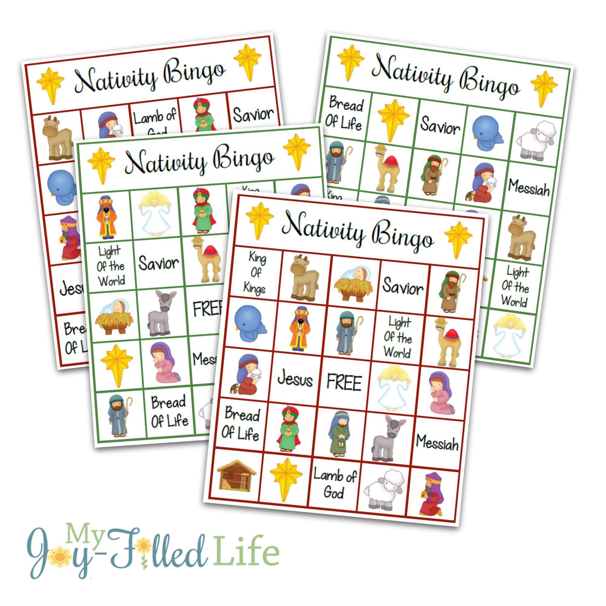 Christmas Bingo Game, Nativity Bingo Printable Holiday Bingo - Free Printable Religious Christmas Games