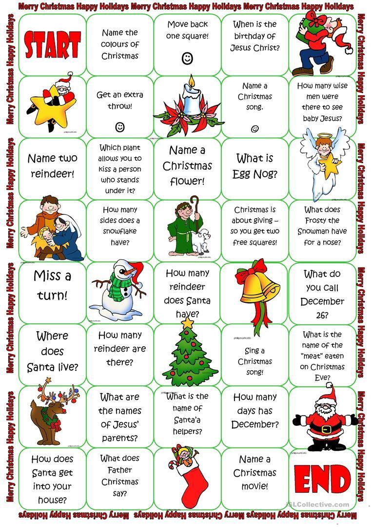 Christmas Board Game Worksheet - Free Esl Printable Worksheets Made - Free Printable Christmas Board Games
