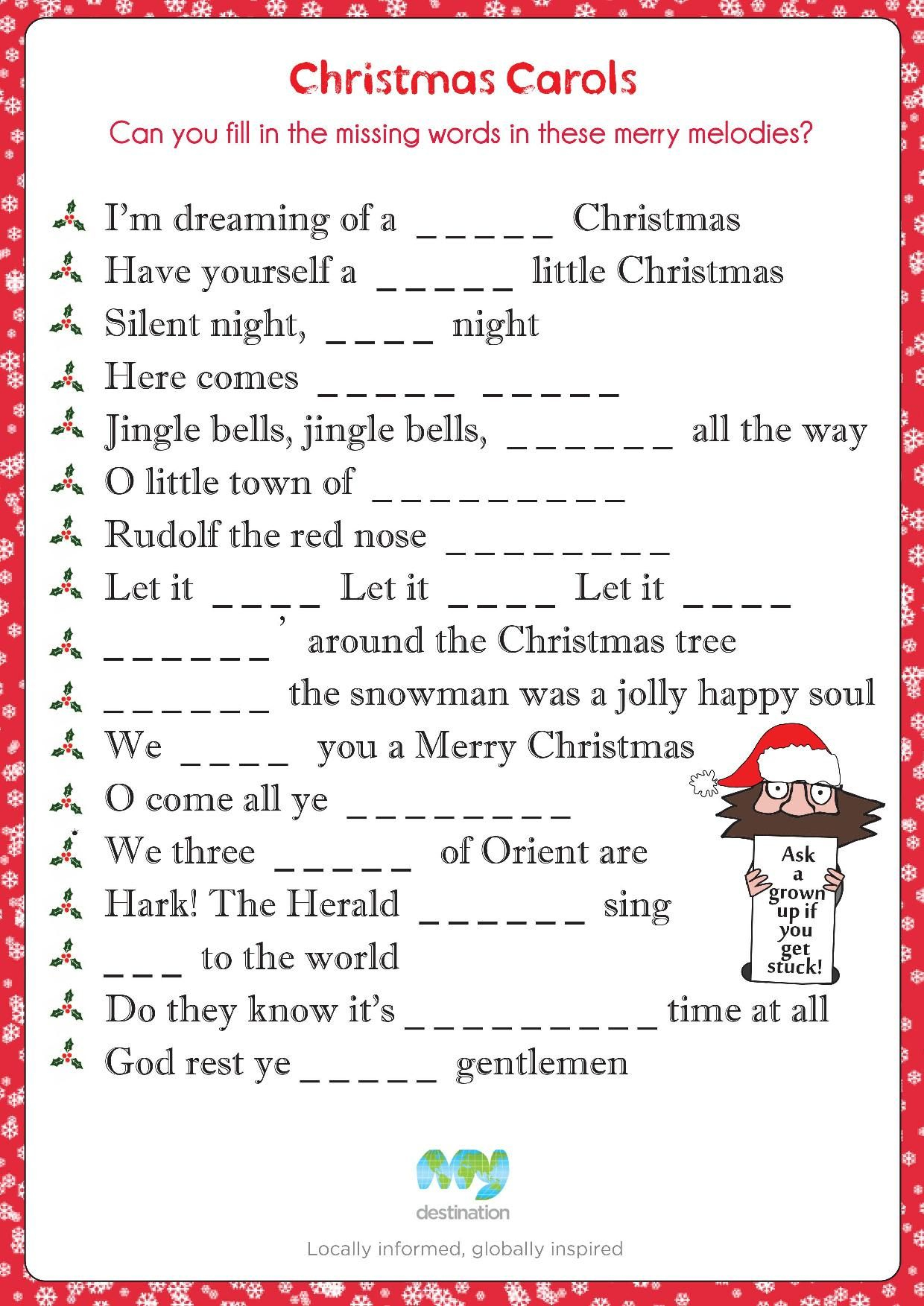 Christmas Carol Fill In The Blanks. Download This Puzzle For Free At - Christmas Song Scramble Free Printable