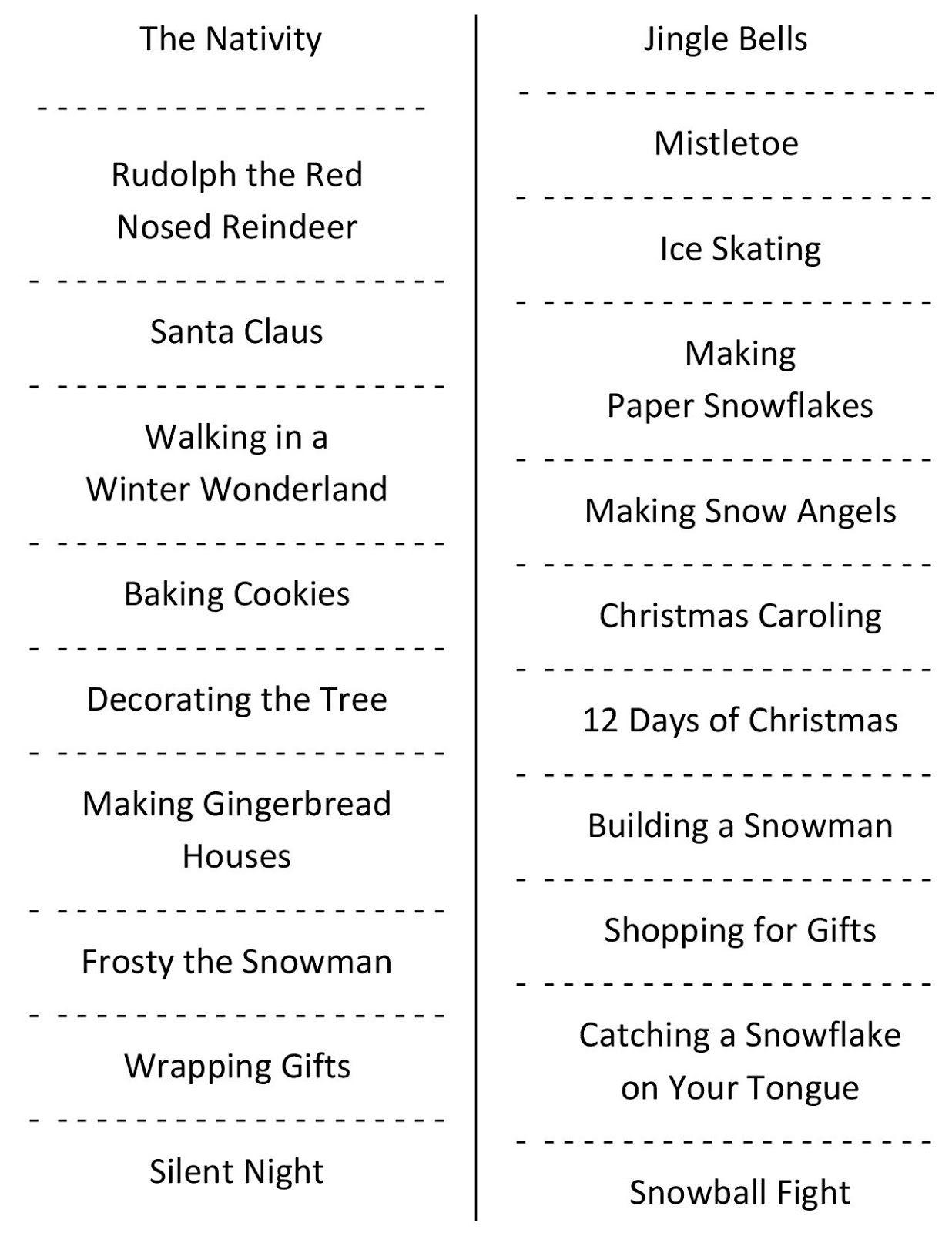 Christmas Charades (Free Printable Party Game) | Christmas | Holiday - Free Printable Charades Cards