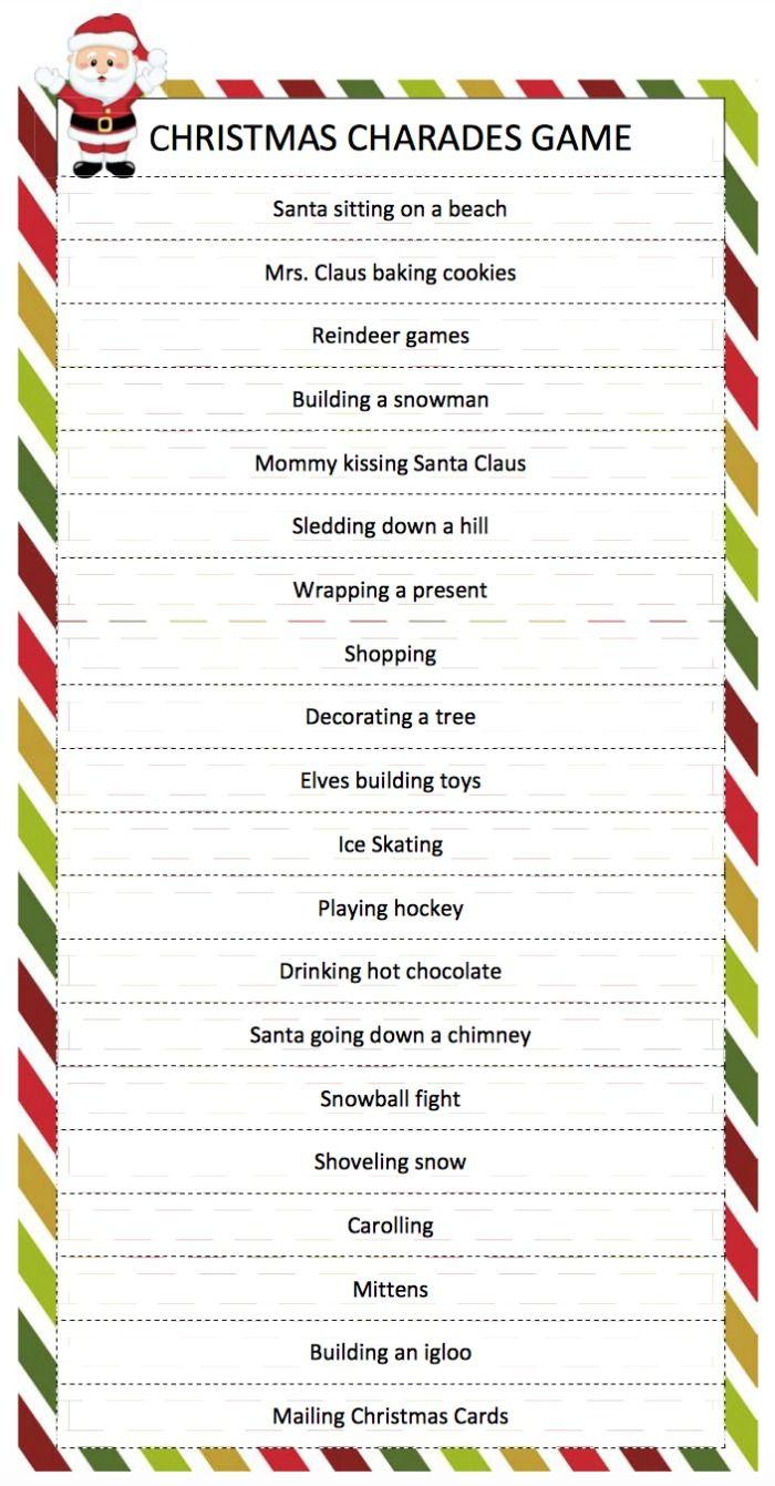 Christmas Charades Game - A Free Printable Game For Family Fun - Free Printable Christmas Games For Adults