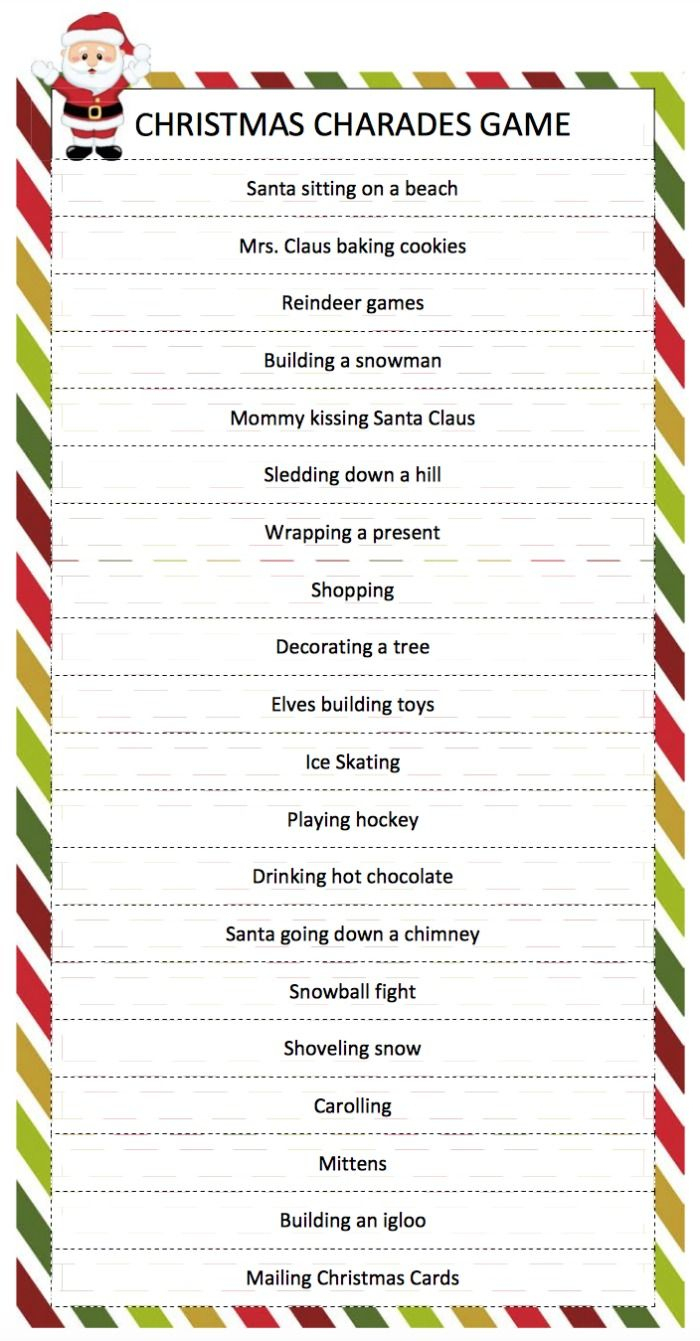Christmas Charades Game   Breakfast Brunch   Pinterest   Christmas - Holiday Office Party Games Free Printable