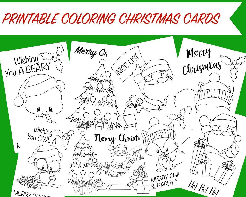 Christmas Coloring Cards - Free Printable Christmas Activity For Kids - Free Printable Cards To Color