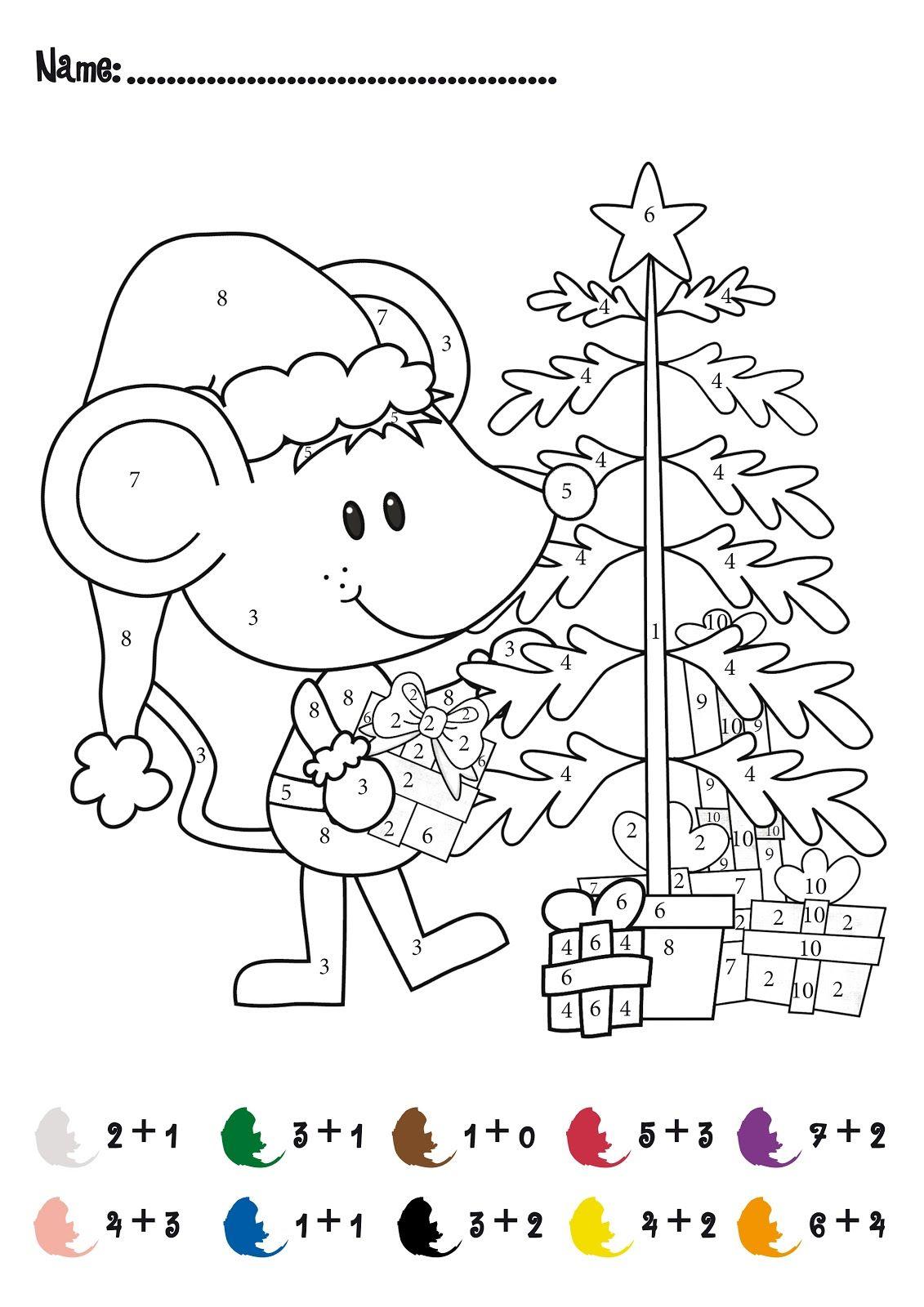Christmas Colornumbers Printables | Christmas Addition Math - Free Printable Christmas Maths Worksheets Ks1