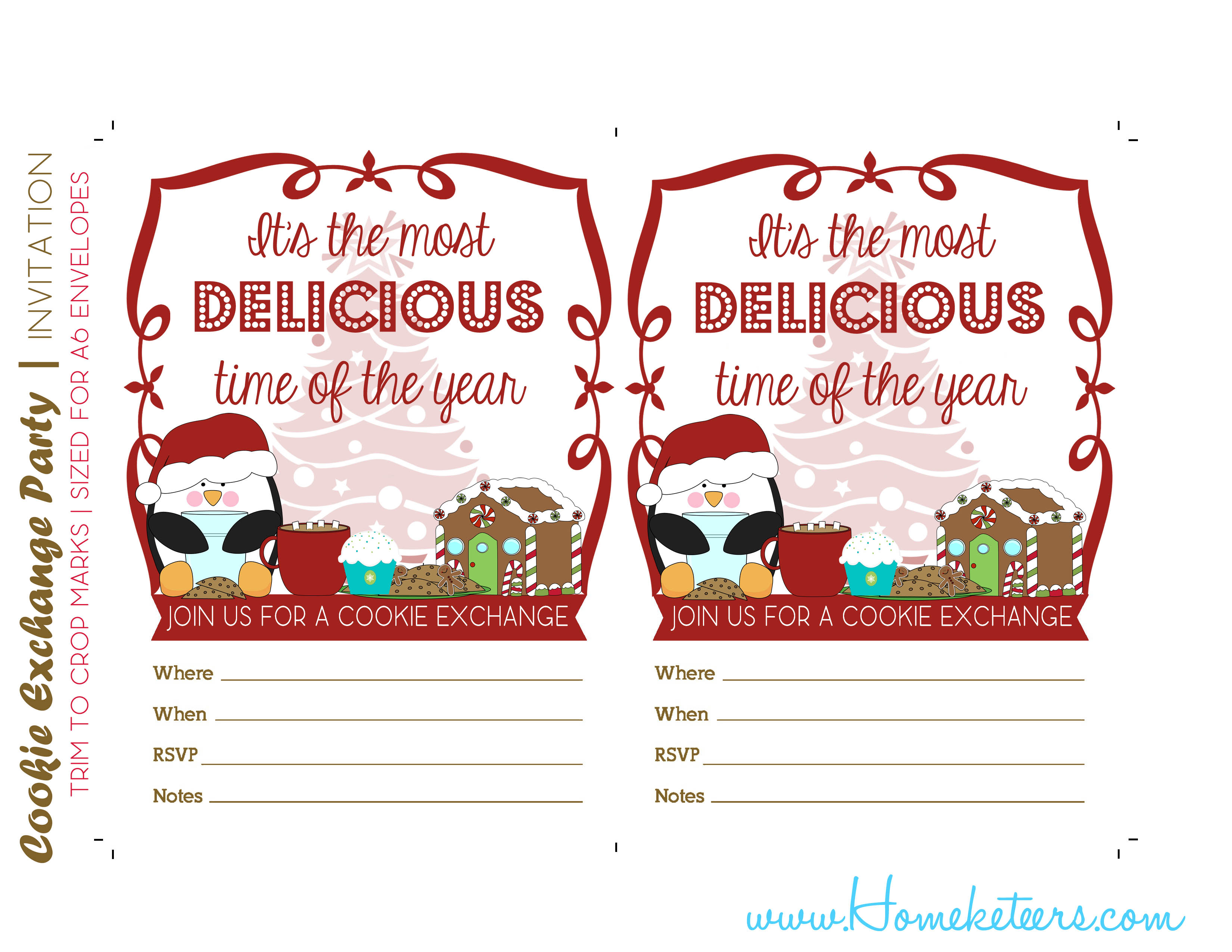 Christmas Cookie Exchange Printables Penguin Theme ~ Free - Free Christmas Cookie Exchange Printable Invitation
