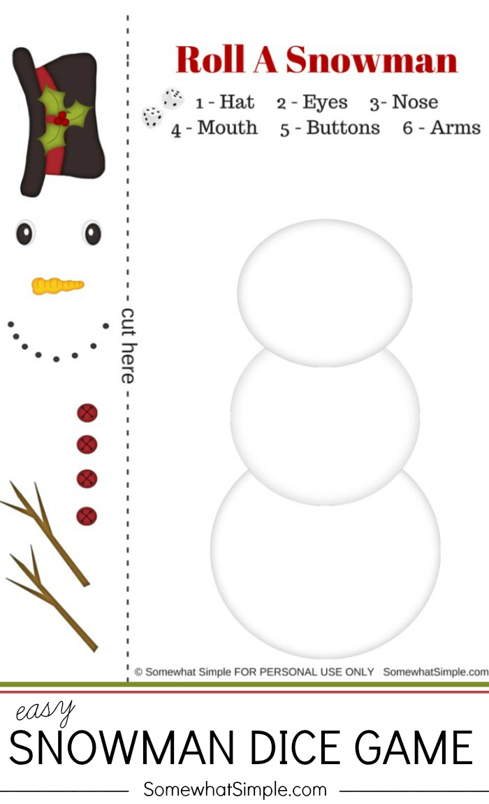 Christmas: Easy Snowman Dice Game - See Vanessa Craft - Roll A Monster Free Printable