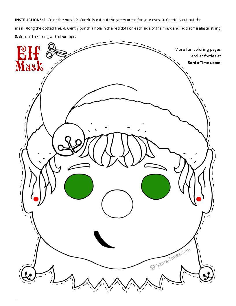 Christmas Elf Mask Free Printable Coloring Page - Free Printable Masks