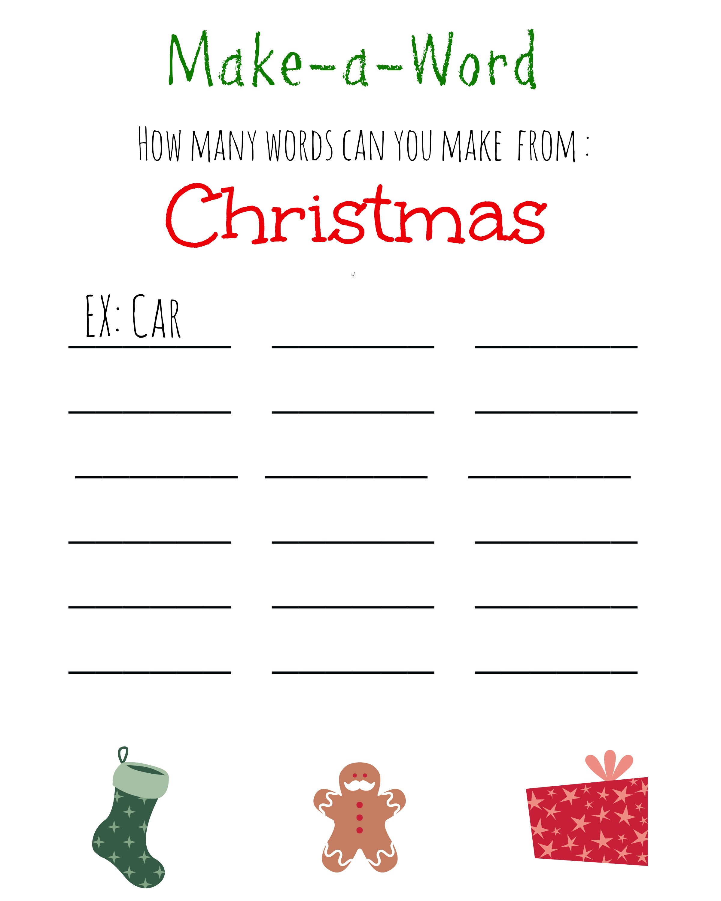 Christmas Games For Kids ~ Free Printable, Christmas Make A Word - Free Printable Word Family Games