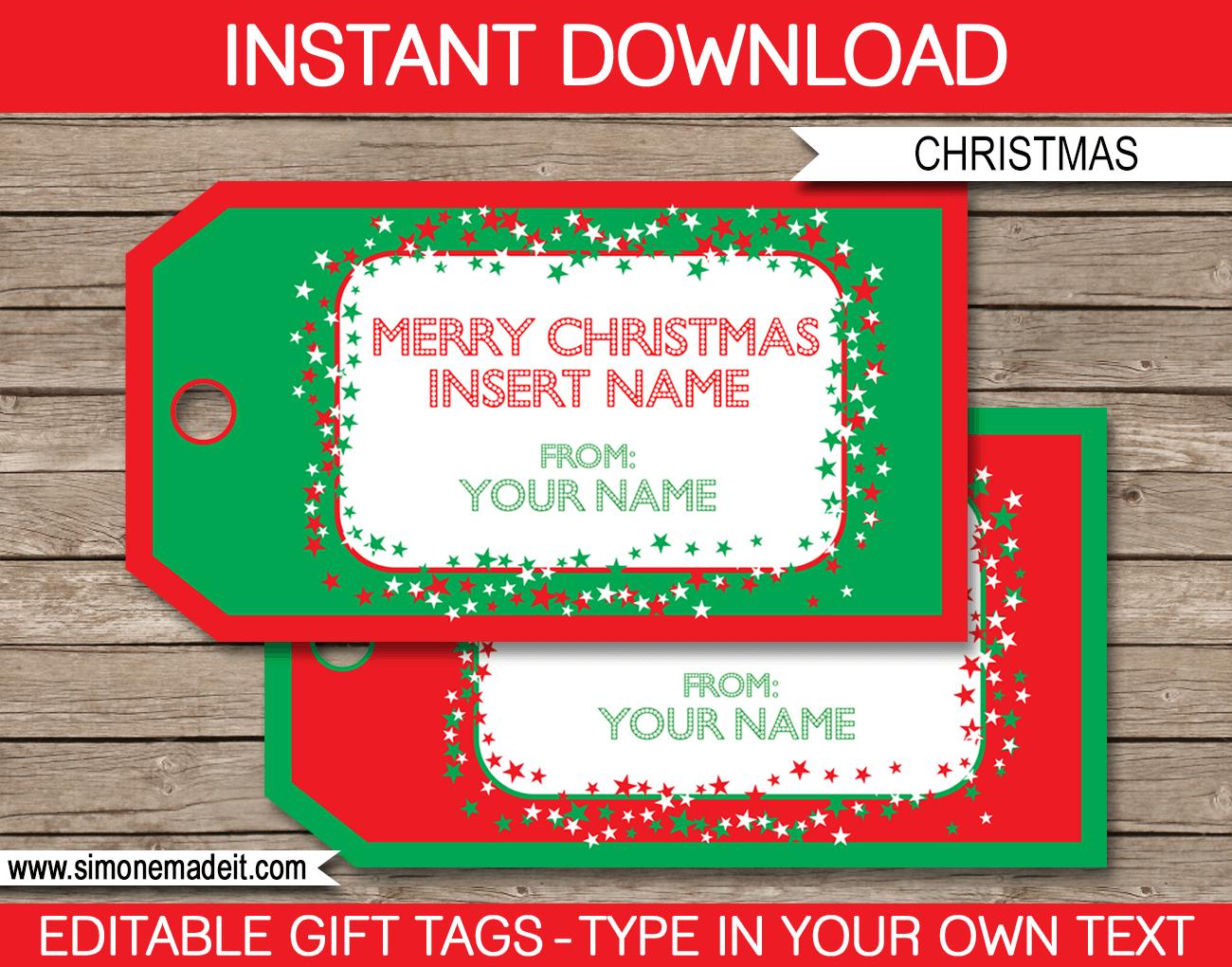 Christmas Gift Tag Template | Printable Christmas Gift Tags - Printable Gift Tags Customized Free