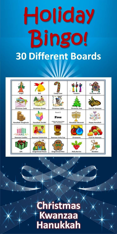 Christmas, Hanukkah, Kwanzaa Bingo Game   Super Amazing Pins - Kwanzaa Trivia Free Printable