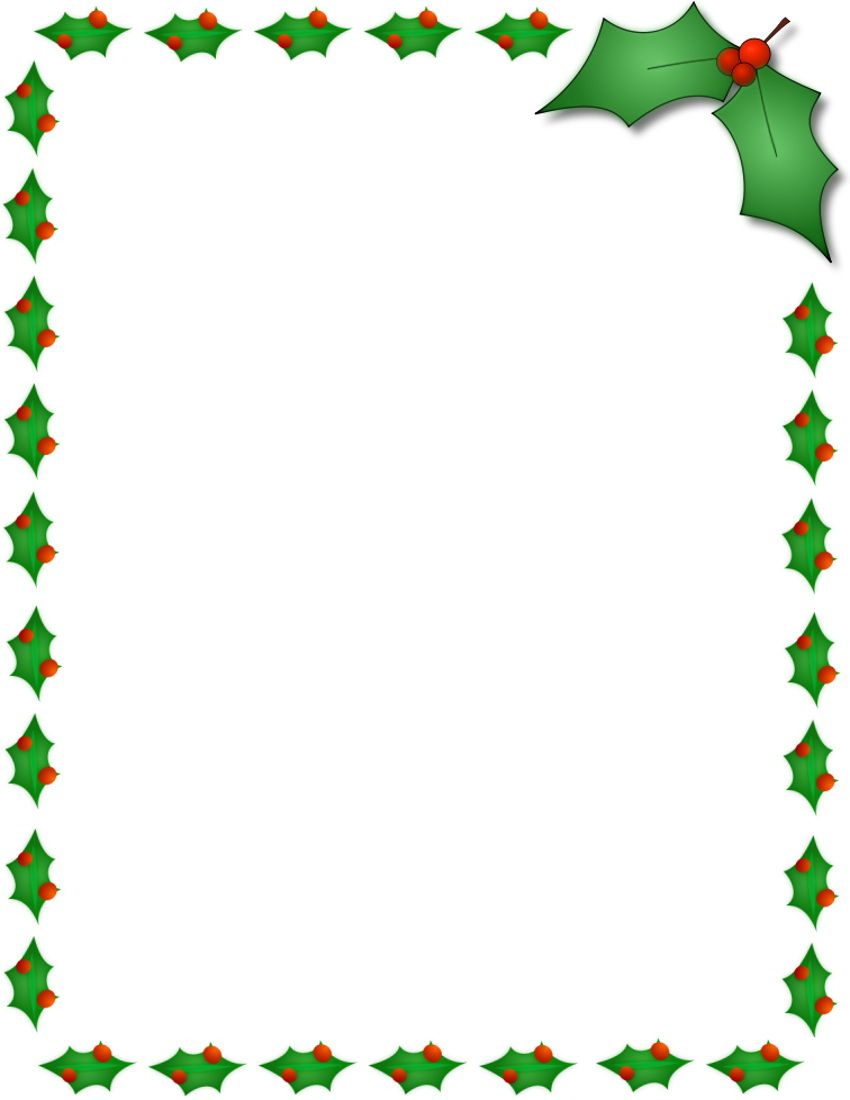 Christmas Holly Border Page Public Domain Clip Art Image Wpclipart - Free Printable Page Borders Christmas