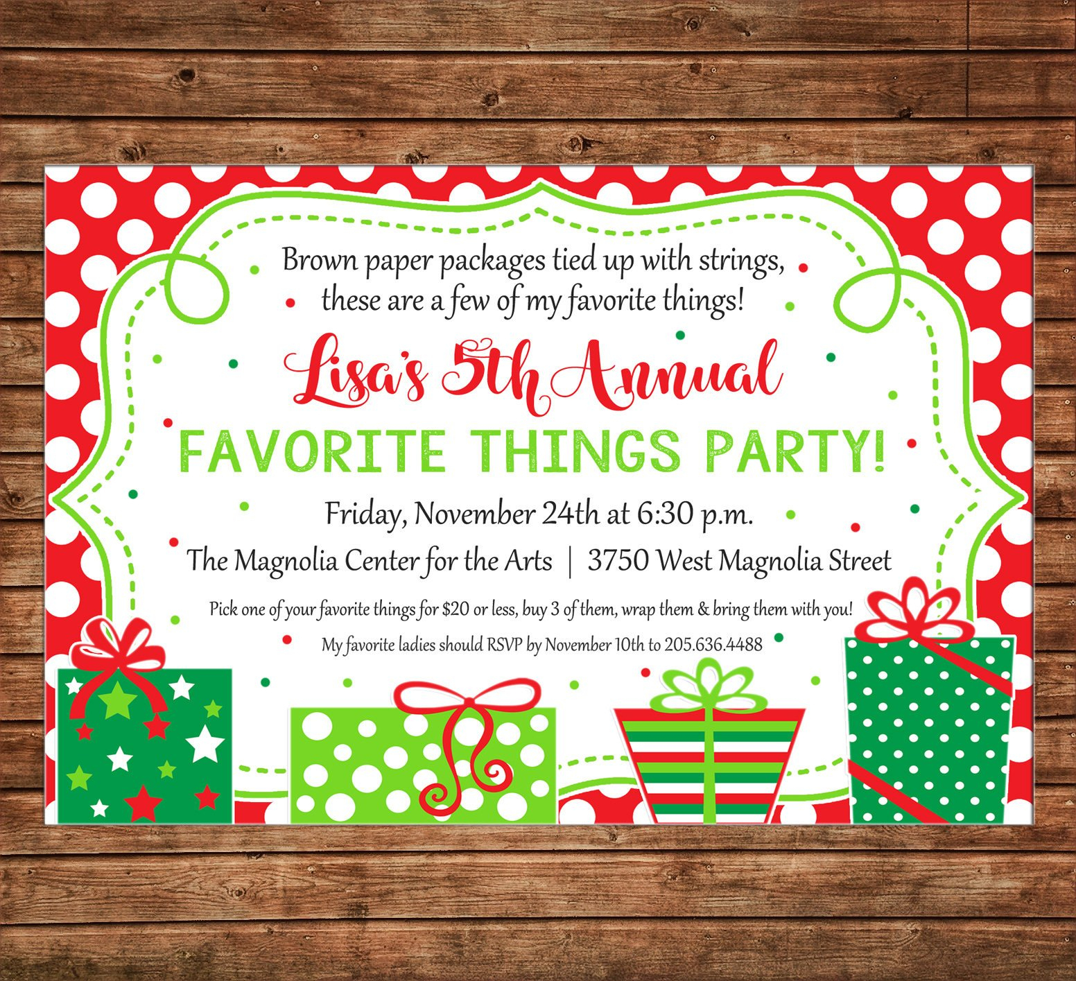 Christmas Invitation Favorite Things Dirty Santa Gift Exchange Party - Free Printable Personalized Christmas Invitations