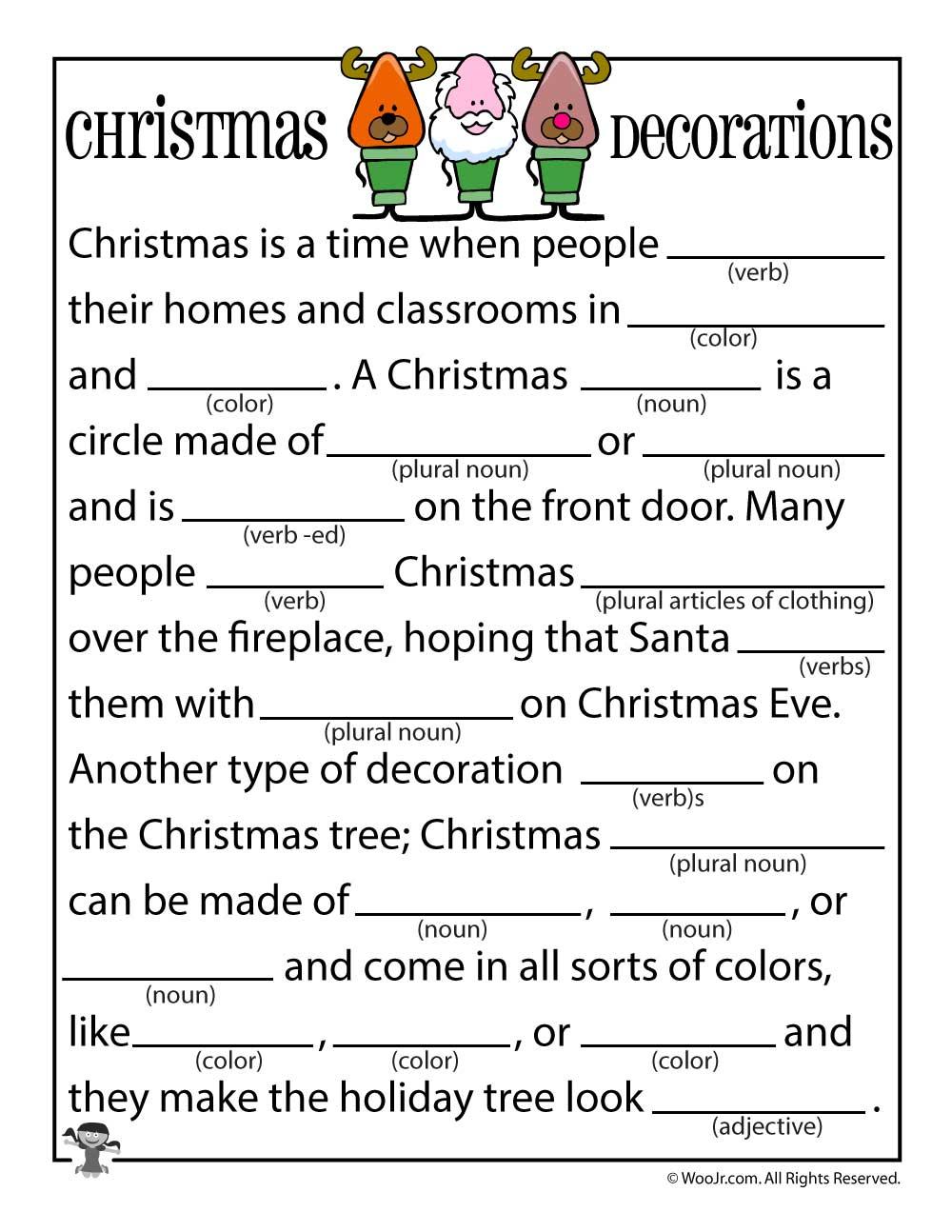 Christmas Mad Libs   Woo! Jr. Kids Activities - Free Printable Mad Libs