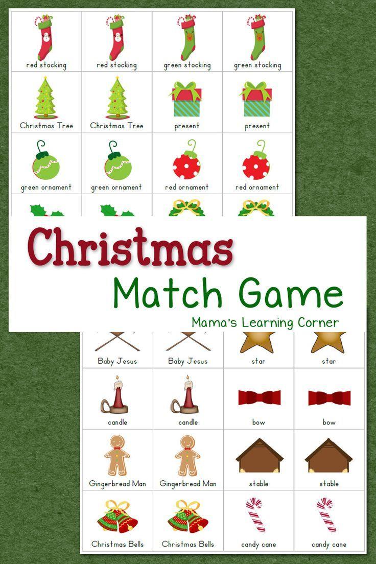 Christmas Match Game | Homeschooling | Pinterest | Christmas - Free Printable Christmas Games For Preschoolers