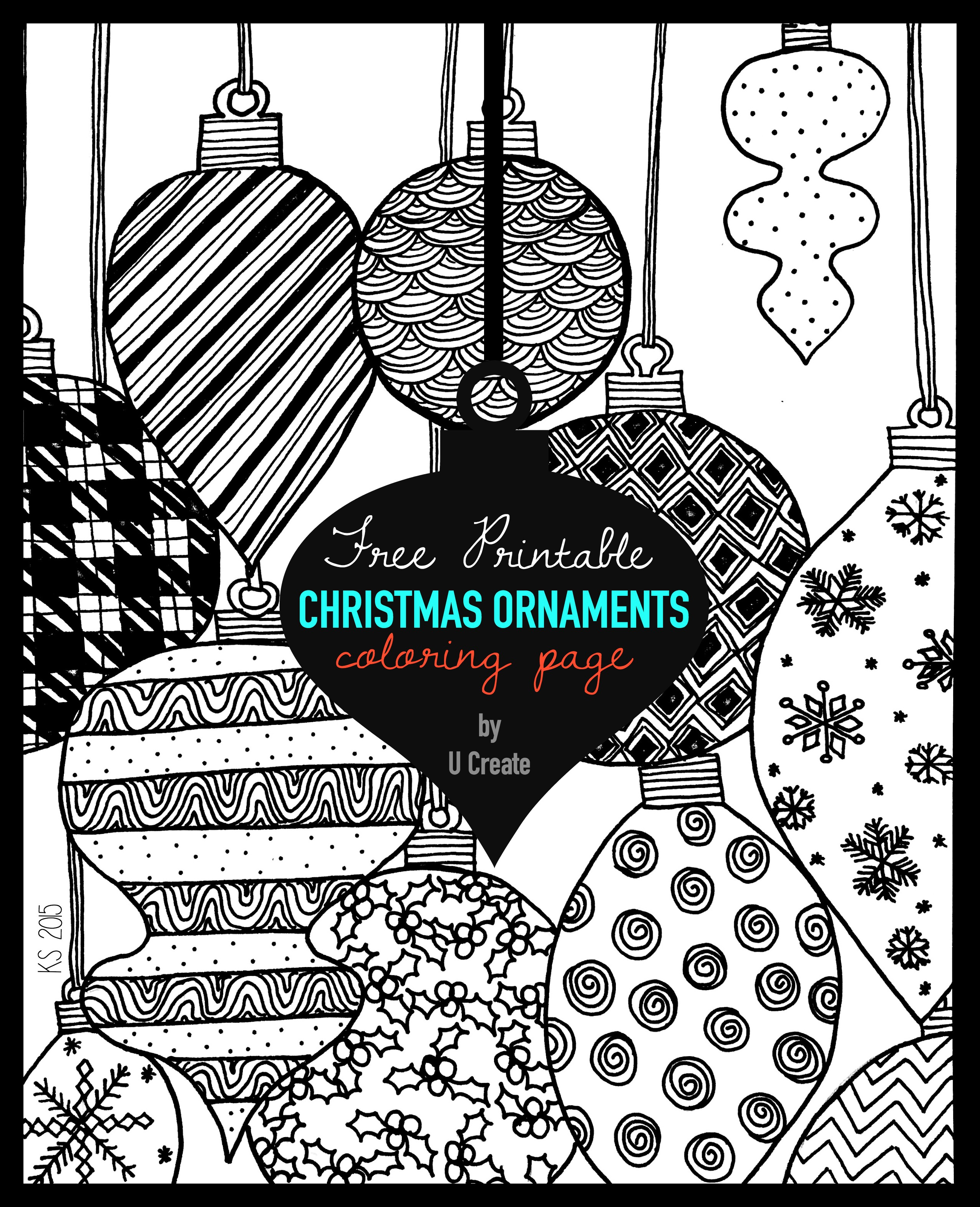 Christmas Ornaments Adult Coloring Page - U Create - Free Printable Ornaments To Color