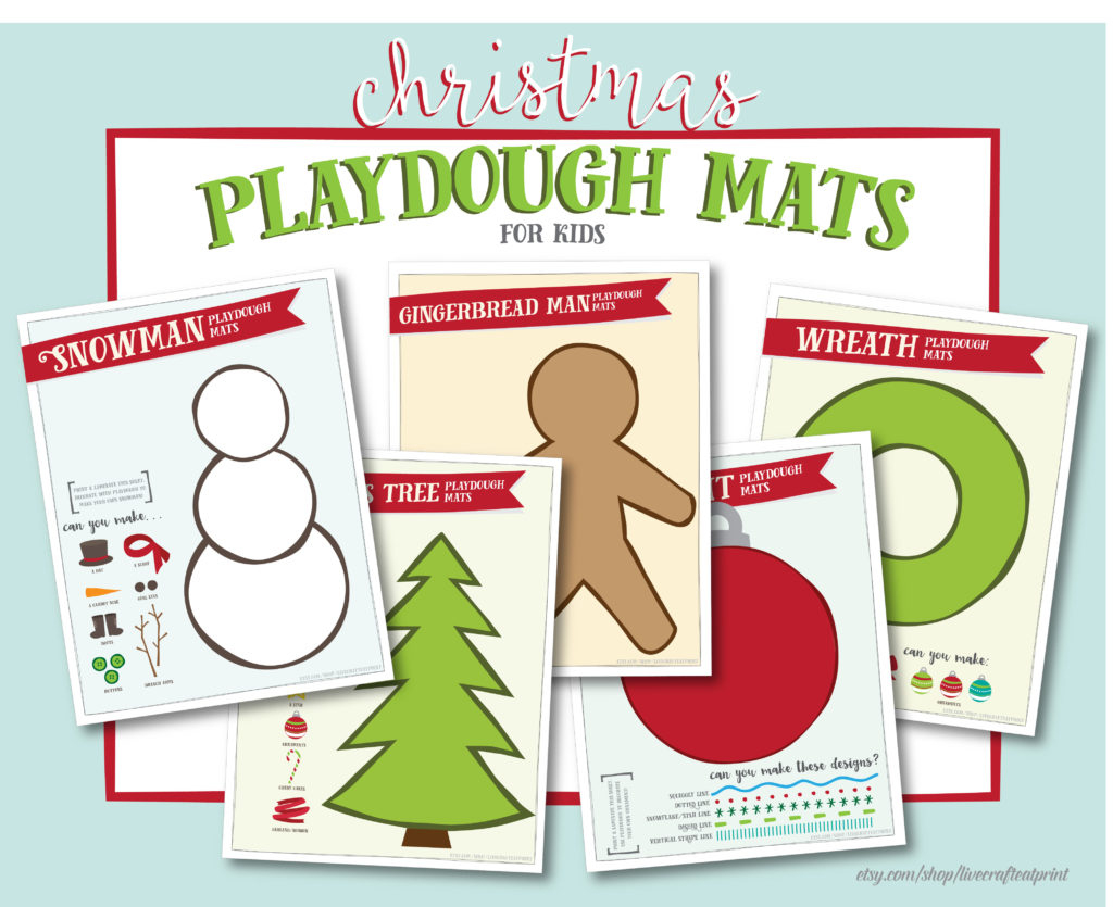 Christmas Playdough Mats - Free Printable | Live Craft Eat - Free Printable Playdough Mats