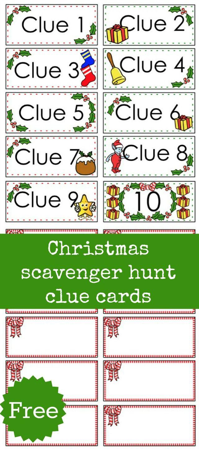 Christmas Scavenger Hunt Free Printable Clue Cards For Kids | Kid - Free Printable Christmas Treasure Hunt Clues