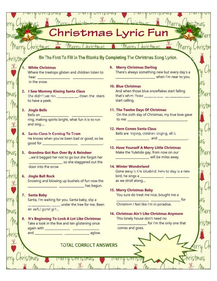 Christmas Song Scramble Free Printable