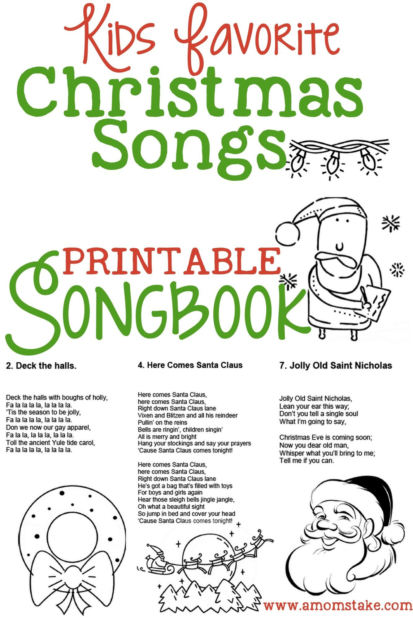 Christmas Songs For Kids – Free Printable Songbook! A Coloring Book - Christmas Song Lyrics Game Free Printable