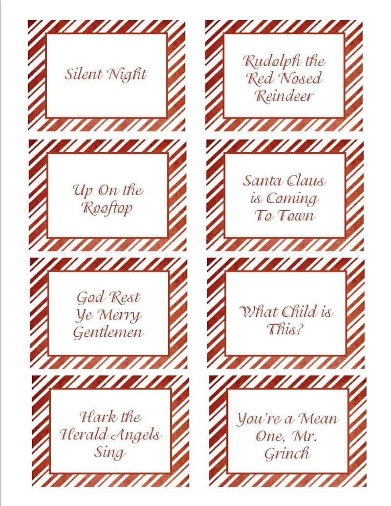 Christmas Songs Pictionary- Free Christmas Game - Free Printable Christmas Song Picture Game