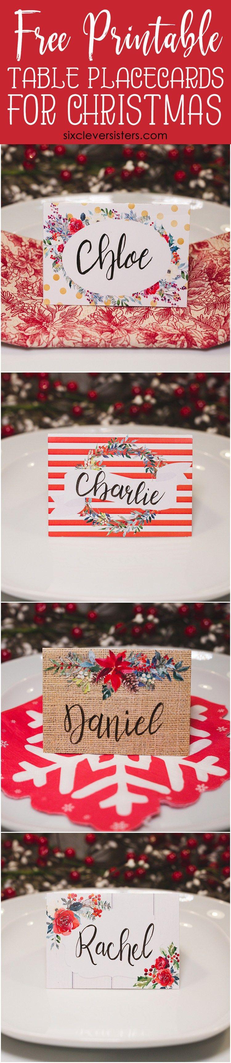 Christmas Table Place Cards   Christmas Name Place Cards   Christmas - Christmas Table Name Cards Free Printable