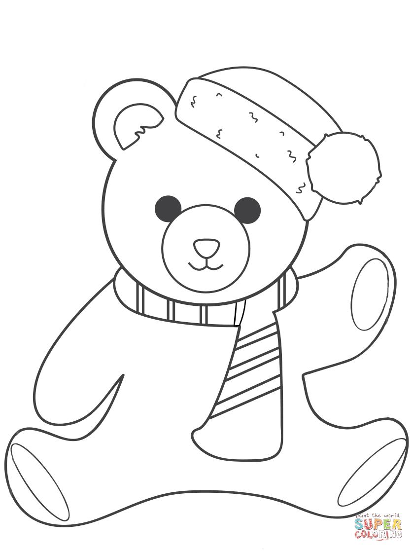 Christmas Teddy Bear Coloring Page | Free Printable Coloring Pages - Teddy Bear Coloring Pages Free Printable
