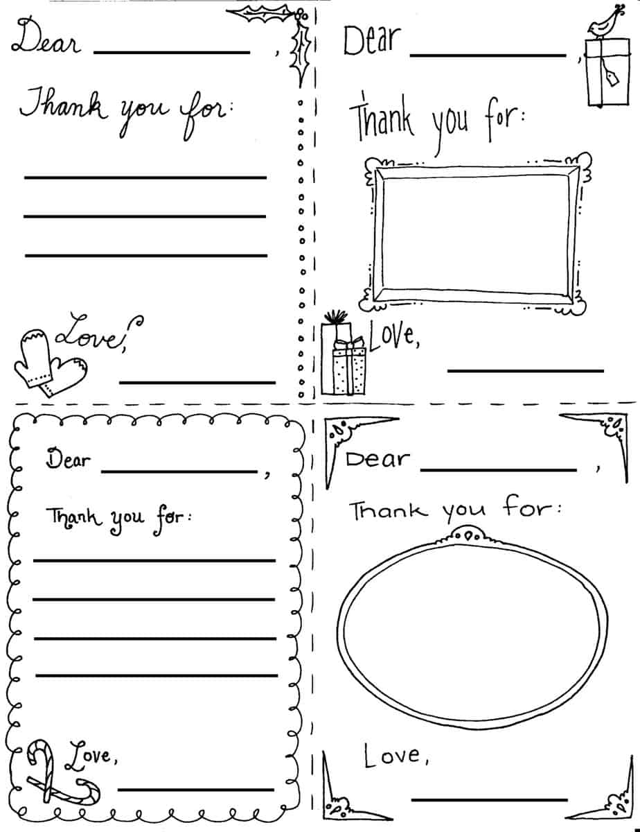 """Christmas """"thank You"""" Cards Coloring Sheets - Free Printable Christmas Cards To Color"""