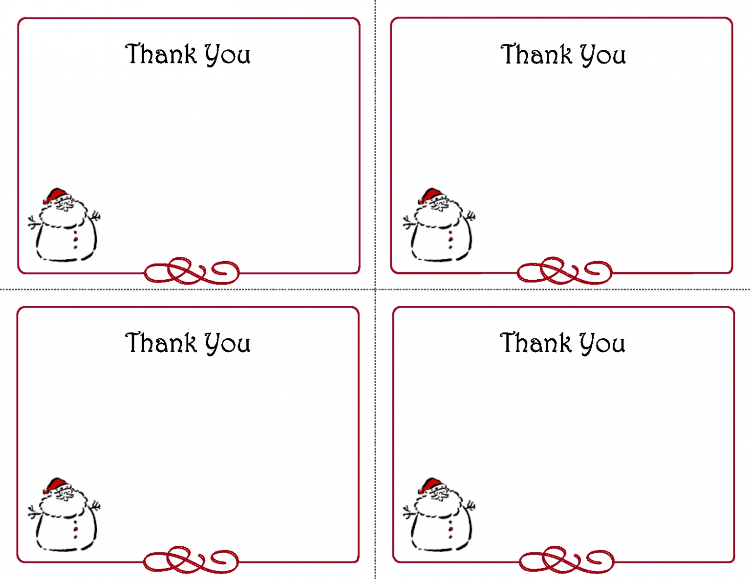 Christmas Thank You Cards Printable Free – Festival Collections - Christmas Thank You Cards Printable Free