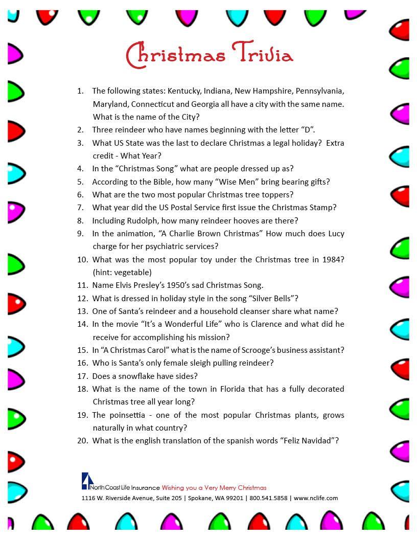 Christmas Trivia Game. Free Printable | Group Games | Pinterest - Free Printable Group Games