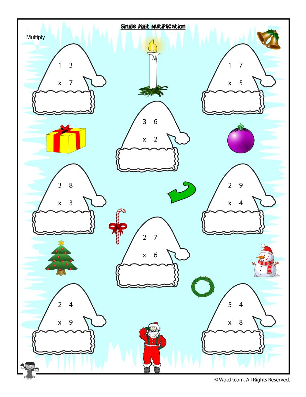 Christmas & Winter Math Worksheets For 2Nd, 3Rd And 4Th Graders - Free Printable Christmas Worksheets For Third Grade