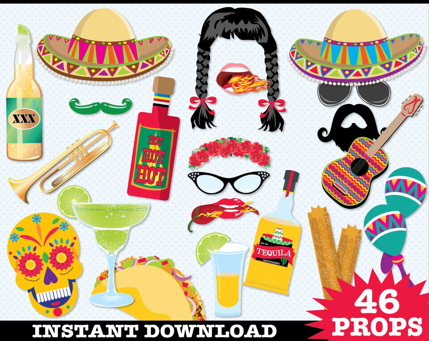 Cinco De Mayo Photo Booth Props - Fiesta, Mexican Holiday, Includes4 - Free Photo Booth Props Printable Pdf