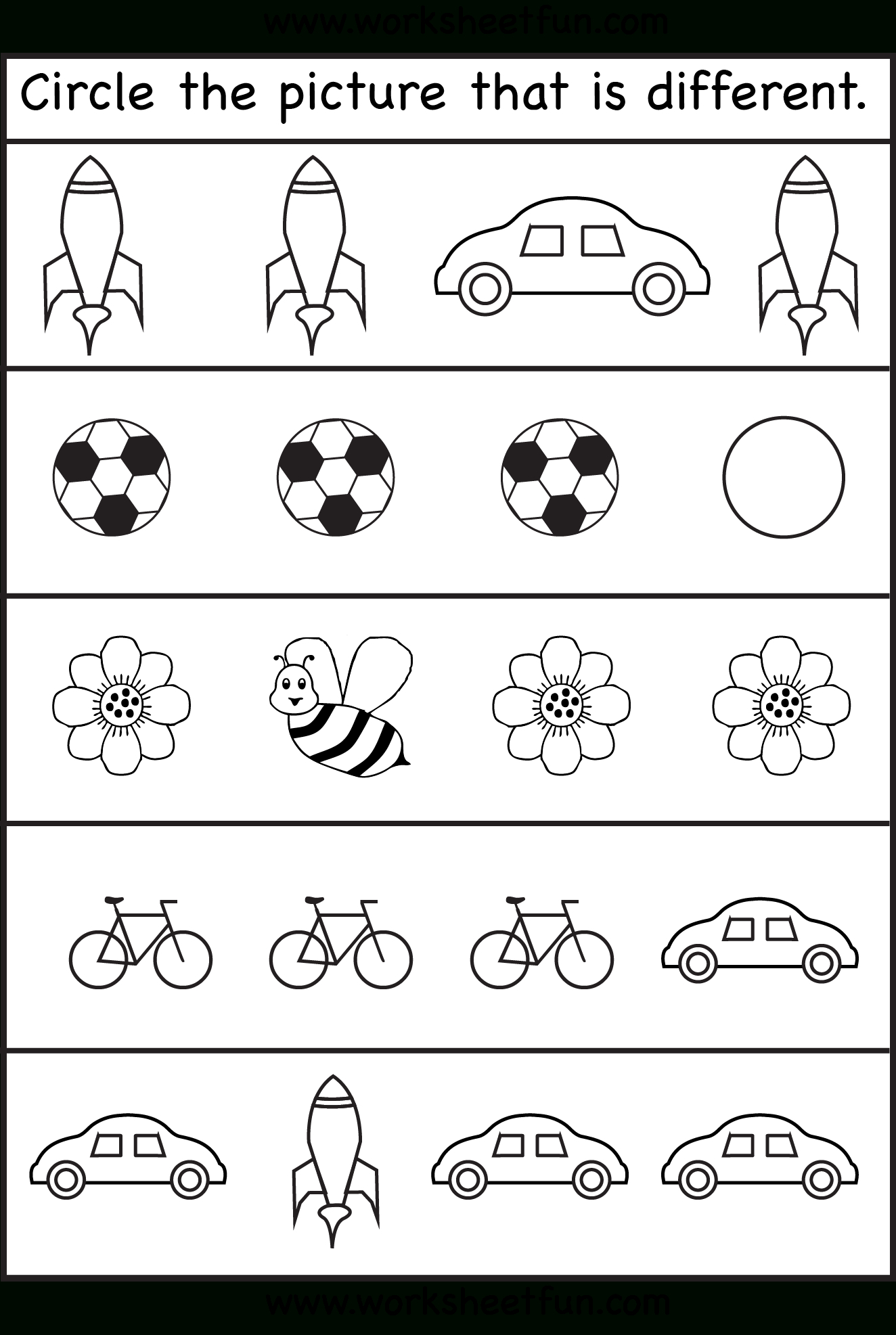Circle The Picture That Is Different - 4 Worksheets | Preschool Work - Free Printable Activity Sheets For Kids