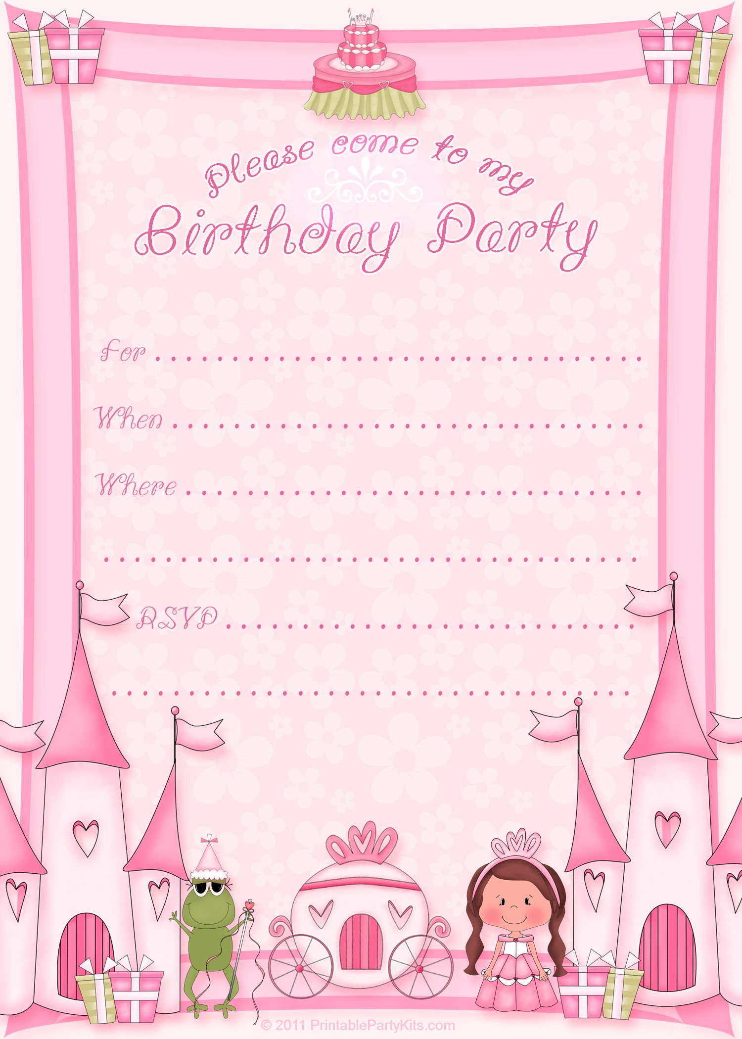 Click On The Printable Princess Birthday Party Invitation Template - Free Printable Princess Invitation Cards